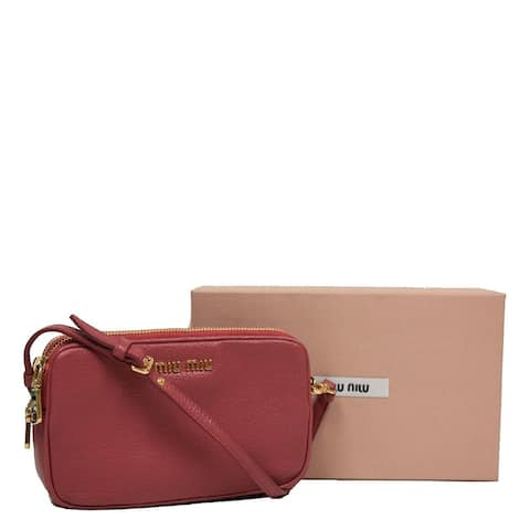 Miu Miu by Prada Women's Rose Pink Leather Wristlet Pouch Bag Small 5ARH02