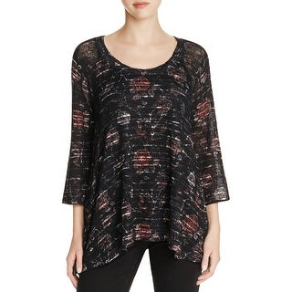 Nally & Millie Womens Casual Top Floral Print Three-Quarter Sleeves