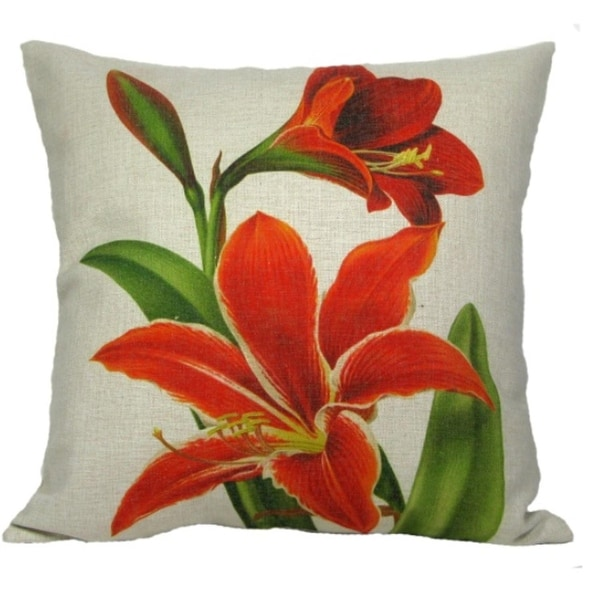 Tropical Orange and Red Amaryllis Flower Decorative Throw Pillow with Insert 18""