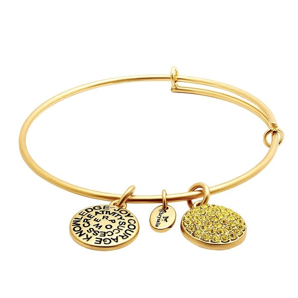 Chrysalis Expandable November Bangle Bracelet with Yellow Swarovski elements Crystals in 14K Gold-Plated Bras