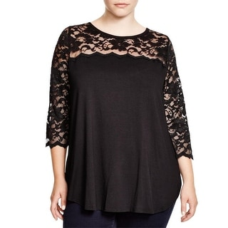 Karen Kane Womens Plus Casual Top Jersey Contrast Lace - 0X