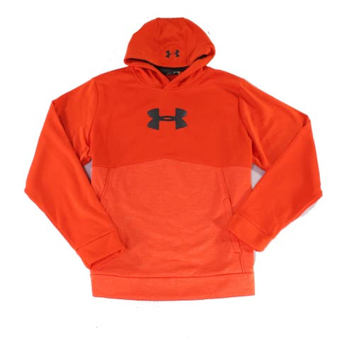 Under Armour Mens Sweater Orange Size XL Embroidered Logo Long Sleeve