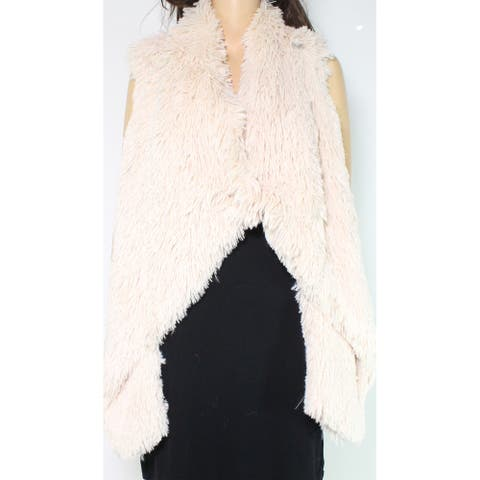 Jolt Jacket Beige Size Medium M Junior Faux Fur Cascade Button Vest