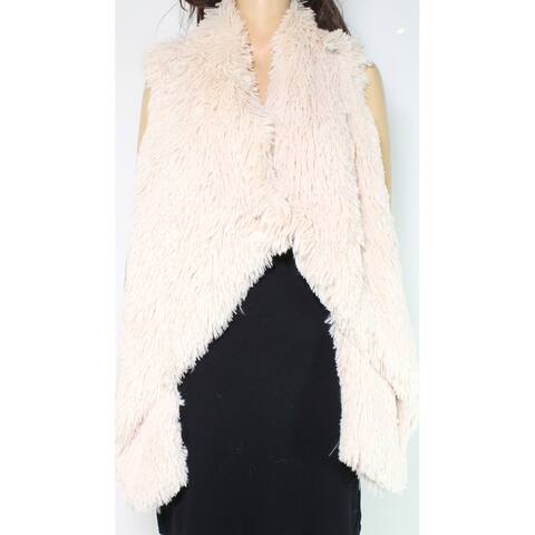 Jolt Vest Taupe Beige Size Large L Junior Faux-Fur Open-Front Solid
