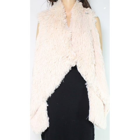 Jolt Vest Taupe Beige Size Medium M Junior Faux-Fur Open-Front Solid