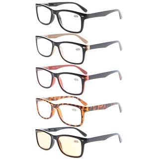 Eyekepper 5-Pack Classic Spring-Hinges Quality Reading Glasses Include Computer Readers +1.25