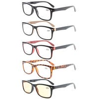 Computer Readers 5-Pack Classic Spring-Hinges Quality Reading Glasses+1.5