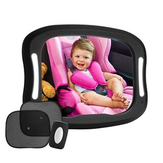 FITNATE LED Baby Car Mirror, 360°Rotatable Design, Large and Stable Mirror w/ Acrylic Material, Four Sturdy