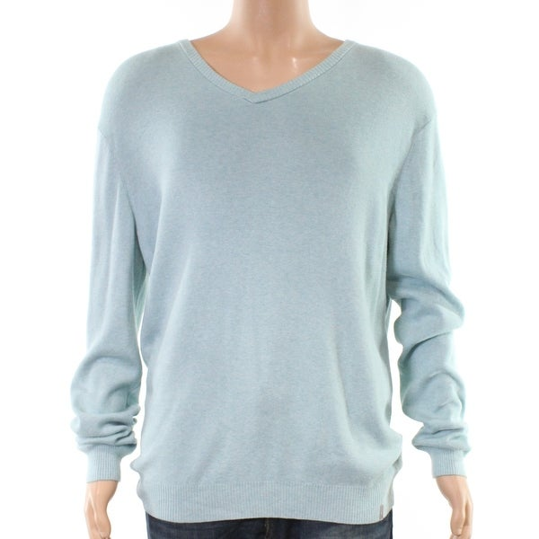 75f858e8d41 Shop Calvin Klein Light Blue Mens Size 2XL Ribbed V-Neck Solid Sweater - On  Sale - Free Shipping On Orders Over  45 - Overstock - 27025041