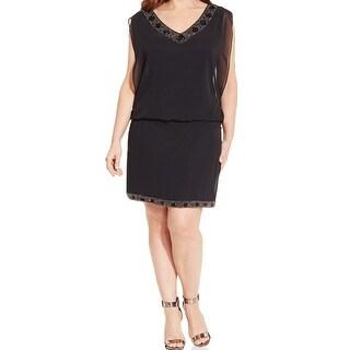 S.L. Fashions NEW Black Womens Size 16 Embellished Blouson Sheath Dress