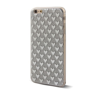 Cell Phone Plastic Heart Pattern Glitter Case Silver Tone for iphone 6 Plus