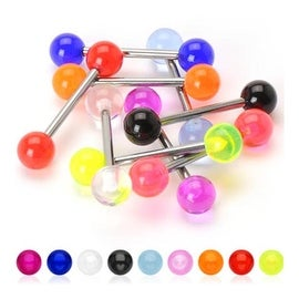 Grade 23 Solid Titanium Shaft UV Ball Barbell (Sold Individually)