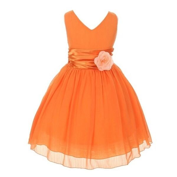 4ce33d967a940 Girls Orange Yoru Chiffon Double V-neck Flower Girl Easter Dress 8-12