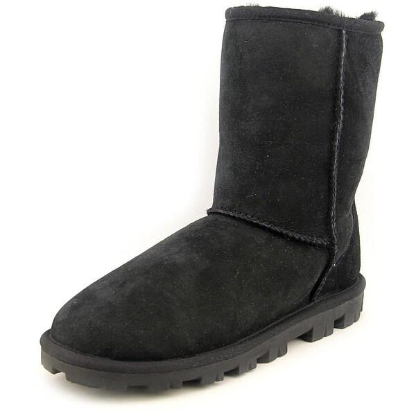 Ugg Australia Essential Short Women Round Toe Leather Black Winter Boot
