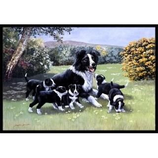 Carolines Treasures BDBA0257MAT Border Collie Puppies with Momma Indoor or Outdoor Mat 18 x 27