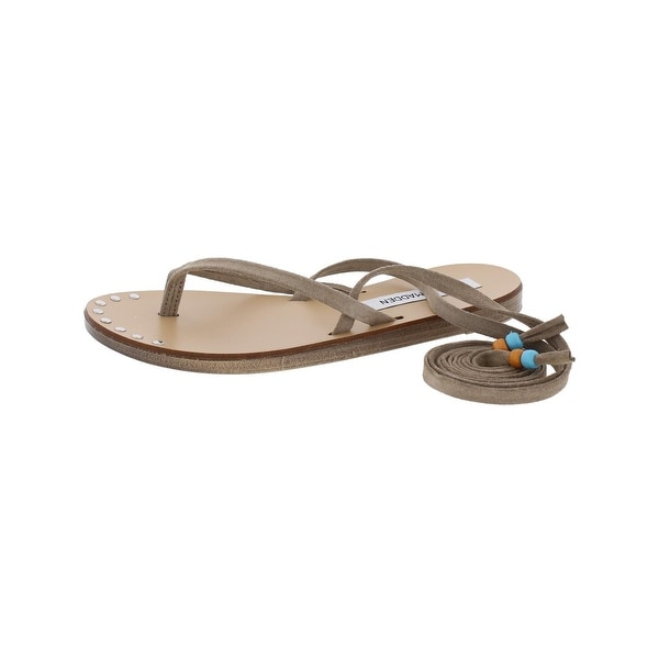 Steve Madden Womens Regal Flat Sandals Wrap Up Beaded