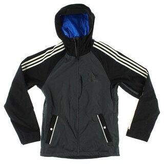 Adidas Mens 3 Stripe Snowboarding Jacket Black - black/dark grey/white - S