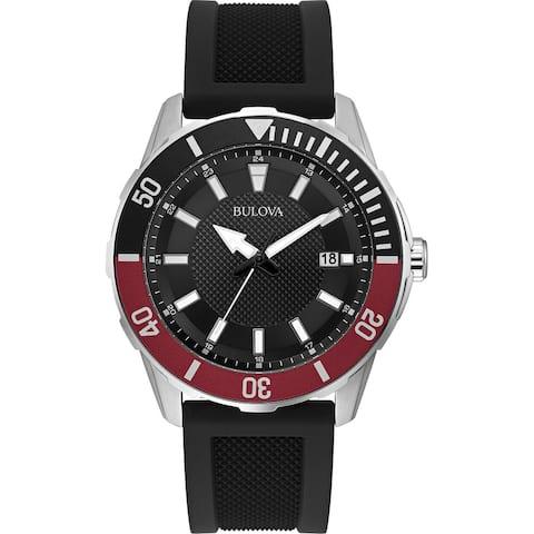Bulova Mens 98B348 Sport Stainless Black Silicone Strap Watch - Silver-Tone