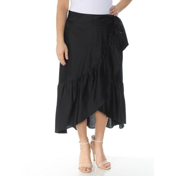 RALPH LAUREN Womens Black Ruffled Tea-Length Wrap Skirt Size: 14