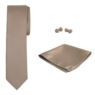 Jacob Alexander Solid Color Men's Slim Tie Hanky and Cufflink Set - One size (Option: Tan)