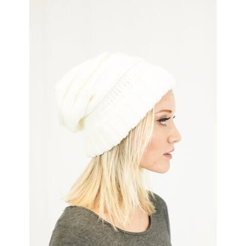 Unisex Soft Stretch Oversized Knit Slouchy Beanie (Ivory)
