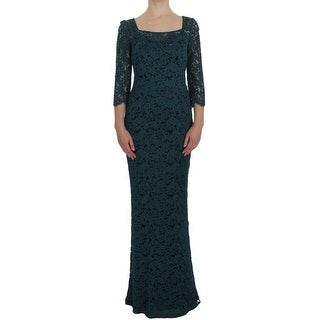 Dolce & Gabbana Blue Floral Lace Bodycon Maxi Ball Dress - it40-s