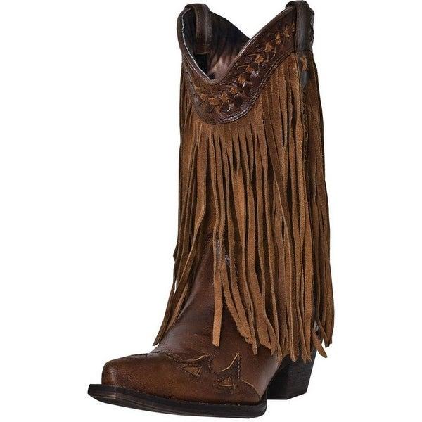 "Dingo Fashion Boots Womens Heart Throb 12"" Shaft Leather Brown"