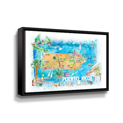 Puerto Rico Island Illustrated Travel Map With Roads And Highlights Gallery Wrapped Floater-framed Canvas