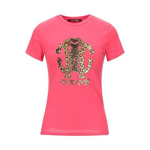 Roberto Cavalli Women's Cotton Cheetah Print Logo T-Shirt Pink