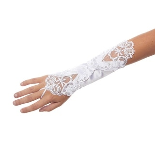 Murder Mystery Dinner Theater Sequin and Bead Satin Gauntlet Gloves