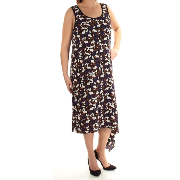 7e8e863e77 Shop ANNE KLEIN Womens Black Floral Sleeveless Jewel Neck Maxi Shift Dress  Size  L - Free Shipping On Orders Over  45 - Overstock - 23455581