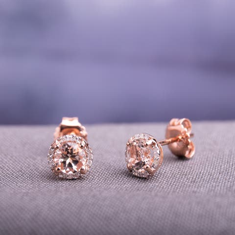 Miadora 10K Rose Gold 1ct Morganite Diamond Accent Stud Earrings - Pink