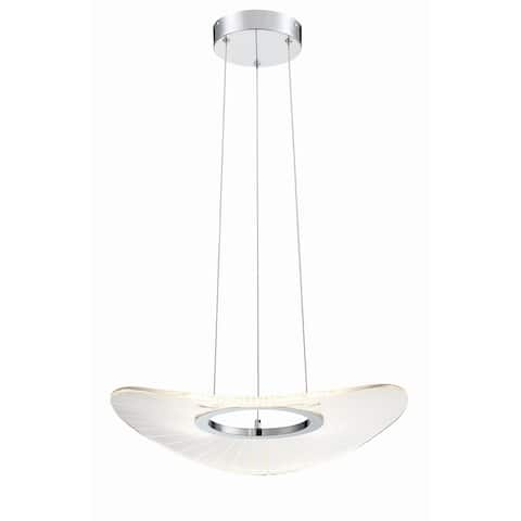 "Kovacs P1782-L Light Ray Single Light 20"" Wide LED Abstract Chandelier - Brushed Nickel"