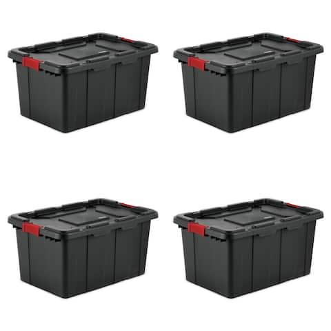 STERILITE 108 Quart Industrial Storage Totes, Black - Case of 4