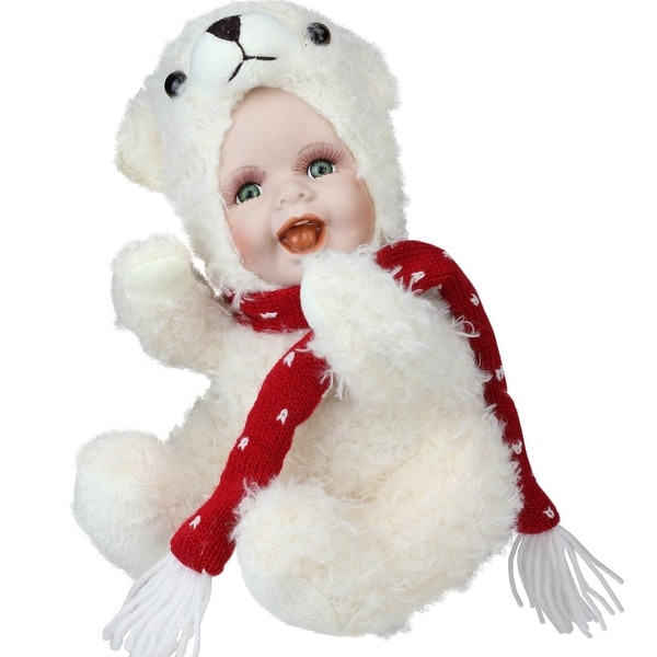 "9.25"" Porcelain Baby in Polar Bear Costume Collectible Christmas Doll - WHITE"