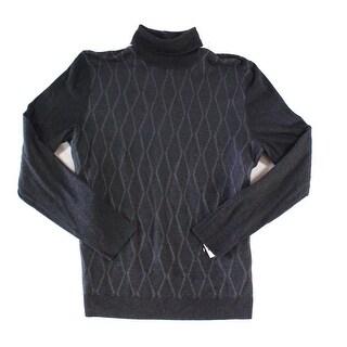 Alfani Charcoal Gray Men Size 2XL Turtleneck Diamond Ribbed Sweater