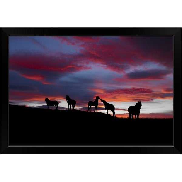 """""""Silhouette of horses at night Iceland"""" Black Framed Print"""