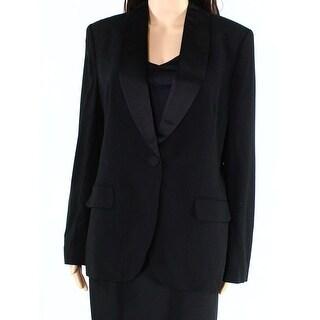 Lauren By Ralph Lauren NEW Black Womens 10 Sateen-Collar Blazer Wool