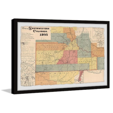 'Map of Southwestern Colorado' Framed Painting Print