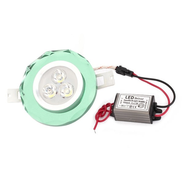 White 3W 3 LED Green Faux Crystal Ceiling Down Light Recessed Lamp AC95-265V