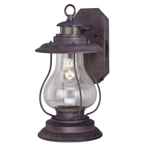 "Vaxcel Lighting T0237 Dockside Single Light 16"" Tall Photocell and Motion Sensor Outdoor Wall Sconce with Clear Glass Shade"