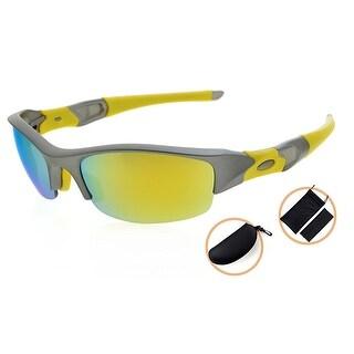 Eyekepper TR90 Unbreakable Sports Polycarbonate Half-Rimless Polarized Sunglasses 90 daysGrey Frame Gold Mirror