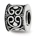 Sterling Silver Reflections Antiqued and Polished Cylinder Bali Bead (4.5mm Diameter Hole) - Thumbnail 0