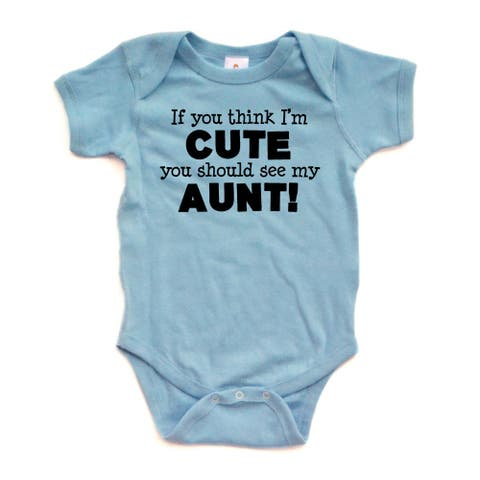 """Apericots """"If You Think I'm Cute You Should See My Aunt Black"""" Short Sleeve Baby Bodysuit"""