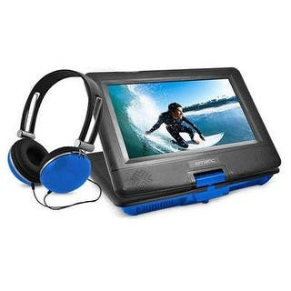 "Ematic 10"" Portable Dvd Player Swivel Screen With Matching Headphones & Car Headrest Mount (Blue)