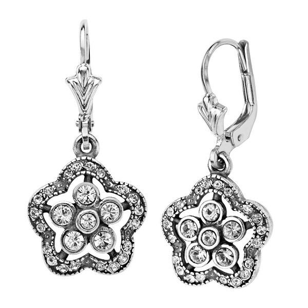 Van Kempen Art Nouveau Flower Drop Earrings with Swarovski Crystals in Sterling Silver - White