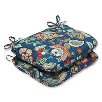 Set of 2 Blue Garden Oasis Outdoor Patio Seat Cushions