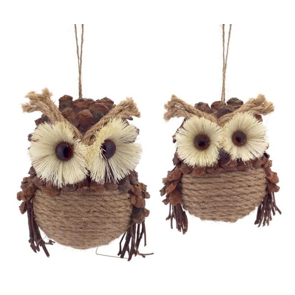 Set of 2 Country Cabin Jute and Pine Cone Woodland Forest Owl Christmas Ornaments 5.25""