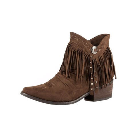 Roper Western Boots Womens Fringe Suede Shorty