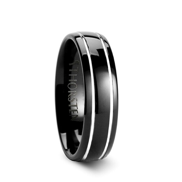 THORSTEN - ECLIPSE Domed Black Tungsten Ring with Polished Offset Grooves - 6mm